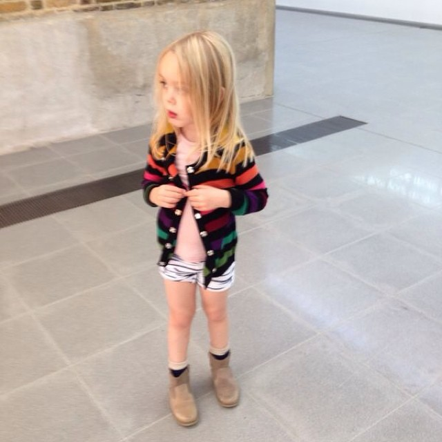 This is what happens in the wardrobe department when mummy is at work for the day... Note the leggings rolled up to look like hot pants! #daddyonduty #selfstyled #thesaatchigallery