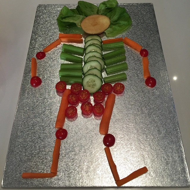 This is the food at the halloween party we're at - vegetable skeleton #halloweenfood #littlespree
