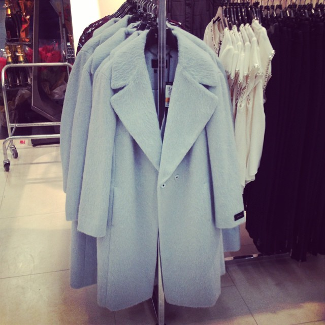 Spotted this rather nice coat as I was running into the food hall earlier... @marksandspencer #chiccoats #powderblue #mamaspree #wintercoats