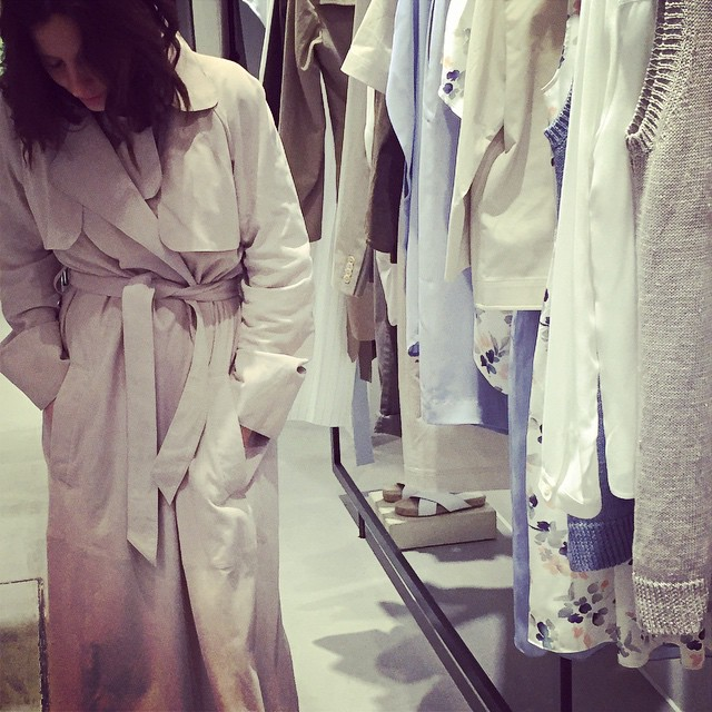 Couldn't resist trying on this suede trench @insidejigsaw press day #sneakpeek Jigsaw SS15 collection @peterjigsawpress #littlespree #mamaspree