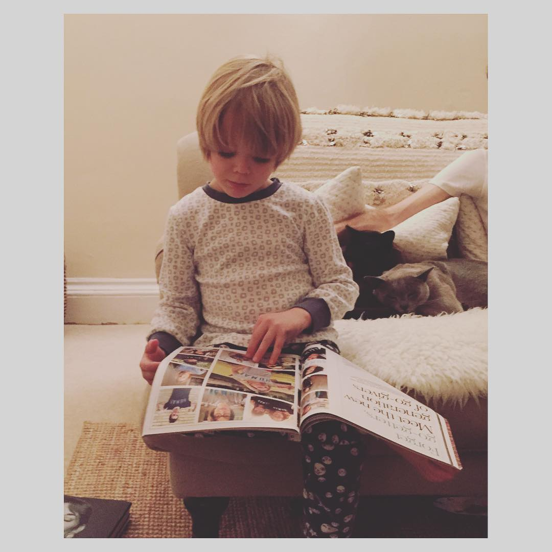 Catching up on his stellatelegraph magazines looking for Mamas storieshellip